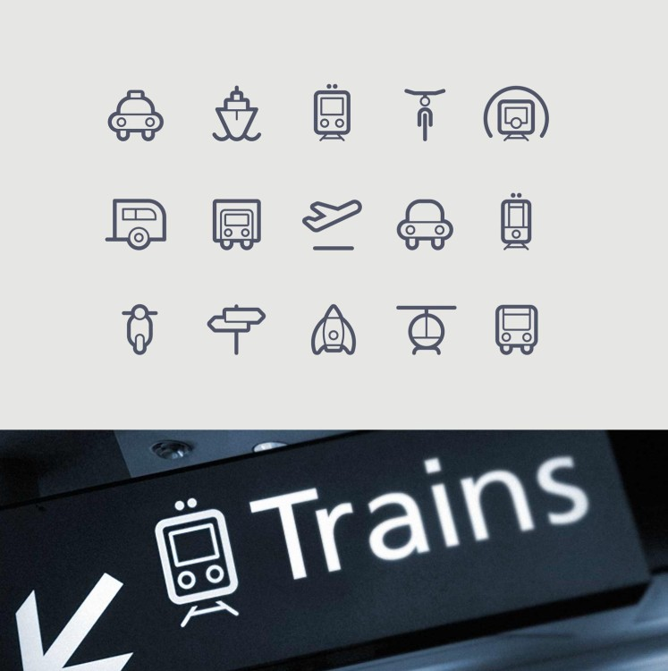 series of stylish transportation and vechicle icons and pictograms in outlined design