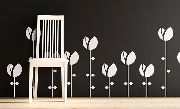 vinyl decal wall graphics with flower patters