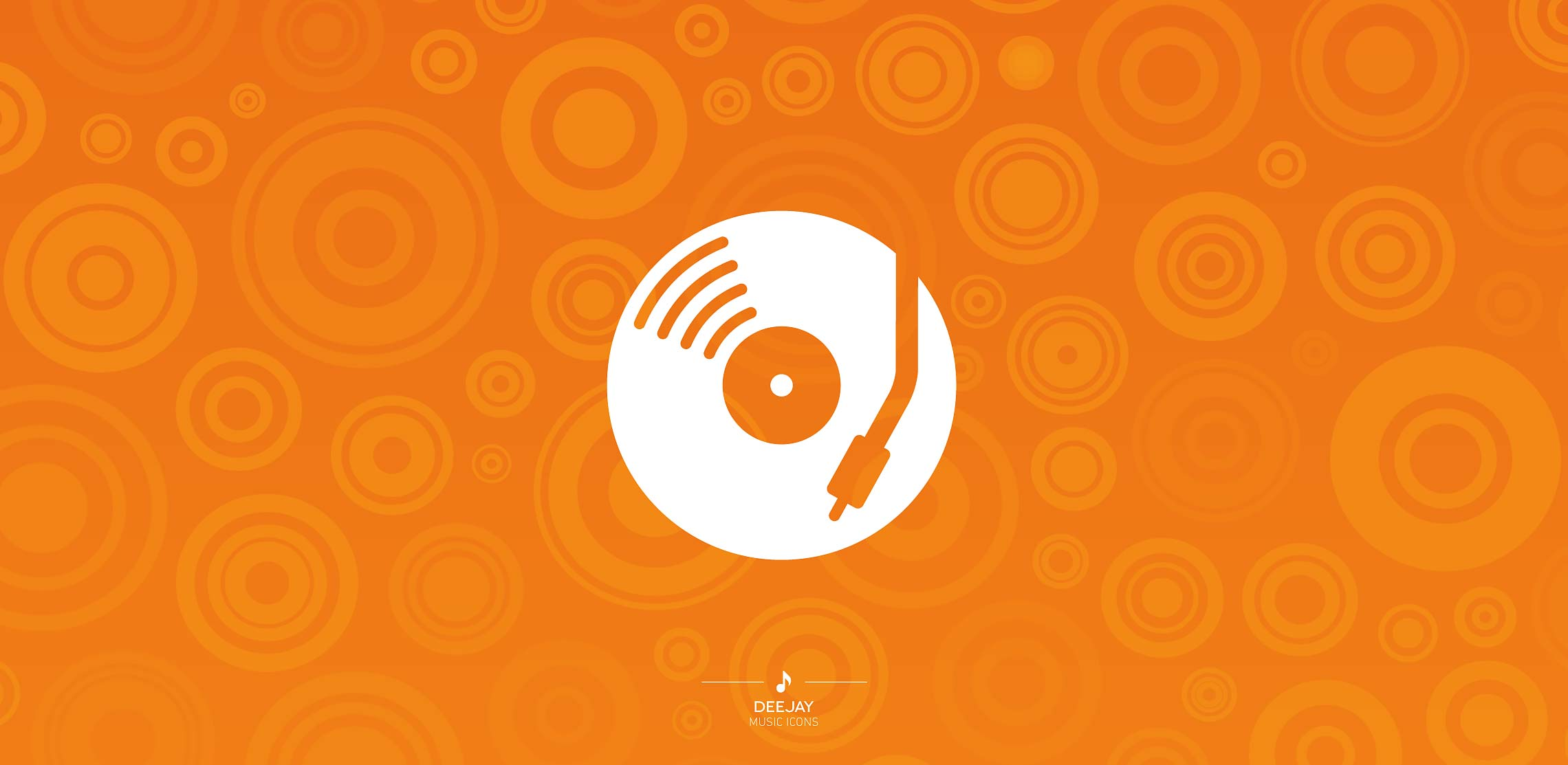 vinyl record icon orangje white