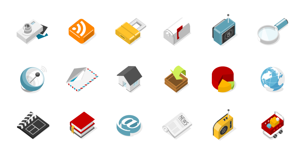 set with 3d isometric icons in flat illustration design