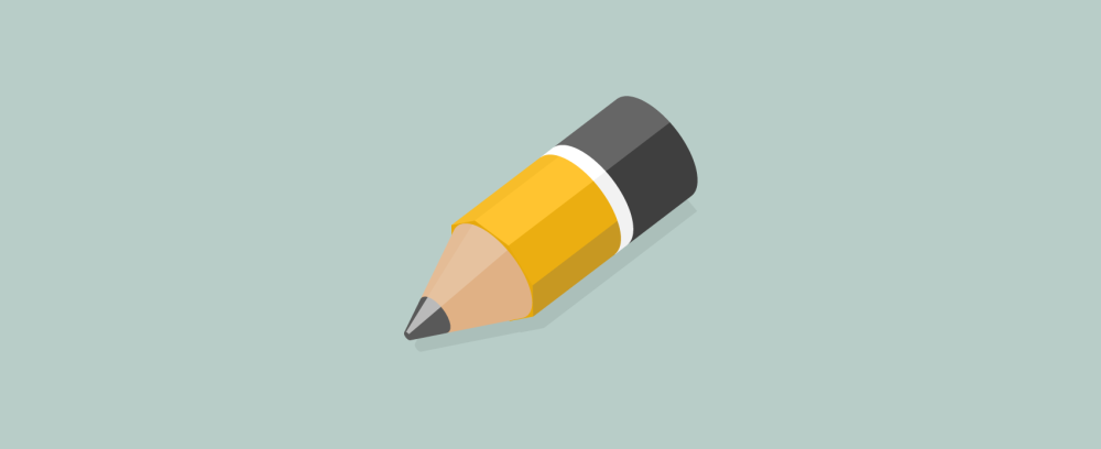 3d isometric pencil icon in flat illustration design