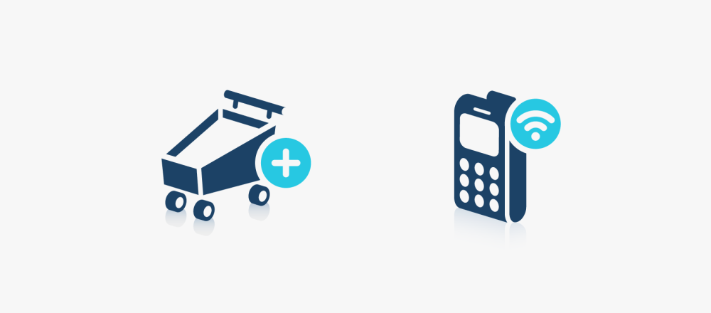 blue 3d icons of shopping cart and mobile phone
