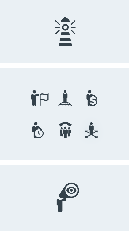icon set with business metaphors and business people