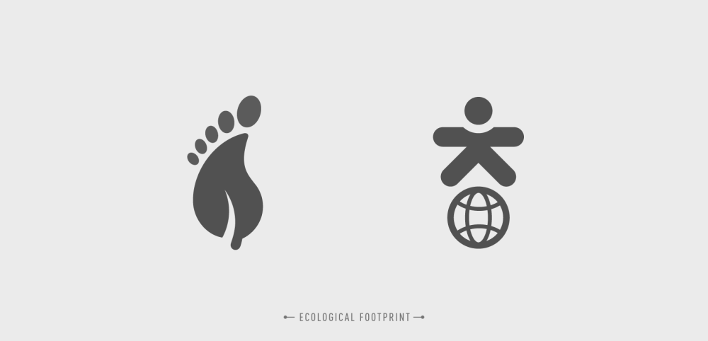 pictogram design of ecological footprint and global warming