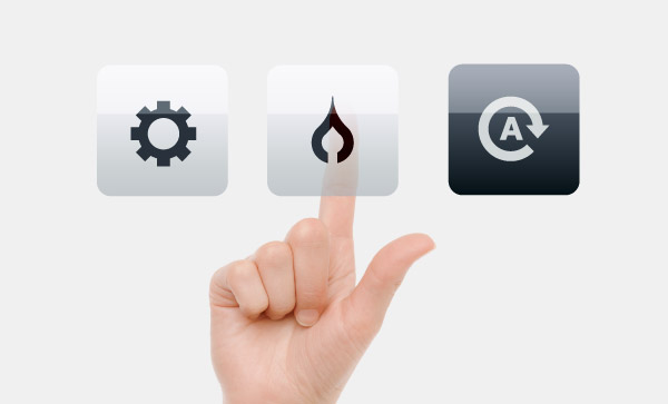 home automation icons with hand touching interface buttons