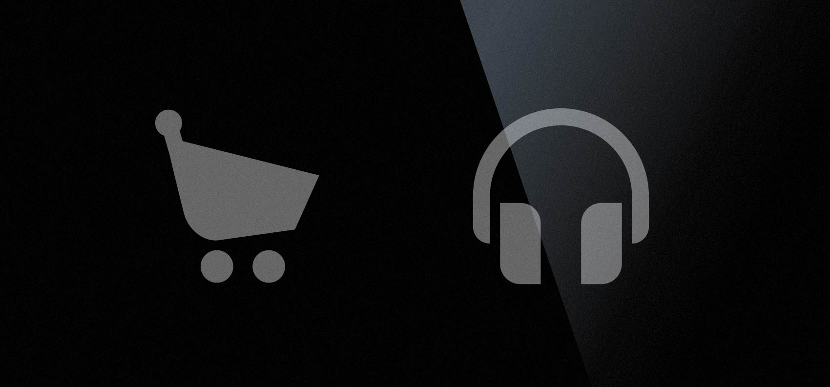 stylish shopping cart and headphones icon in vector format
