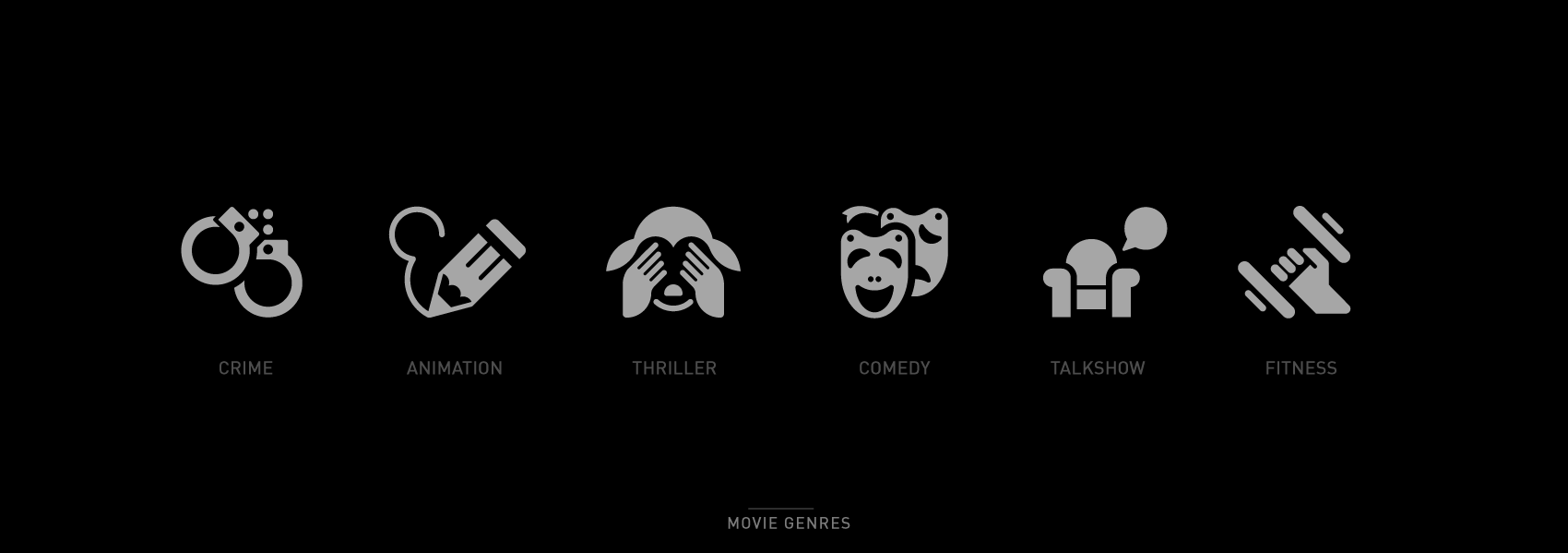 set of movies genres icons