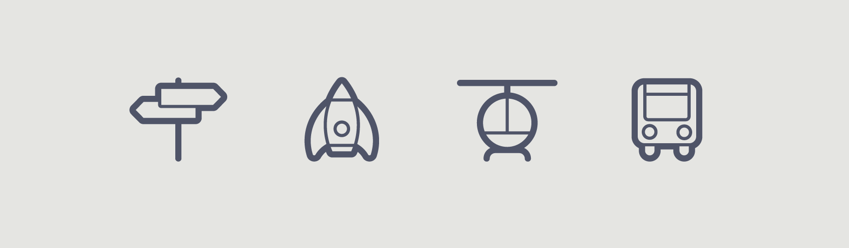 series of outlined transportation icons