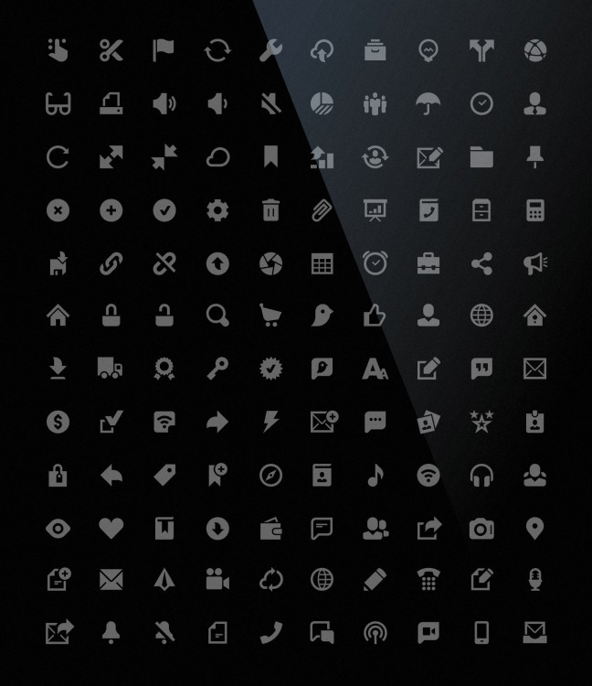 large set of minimal interface icons in vector format with a pixel perfect output