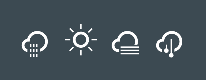 modern stylish weather forecast icons with white outlines
