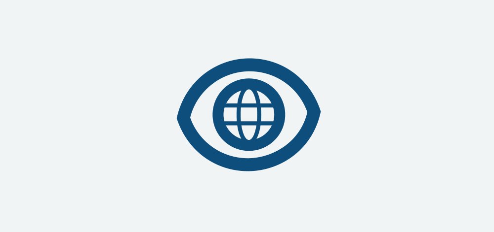 icon design of an eye with a globe inside
