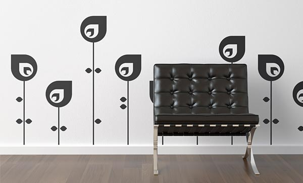 vinyl decal wall graphics with abstract flower patters