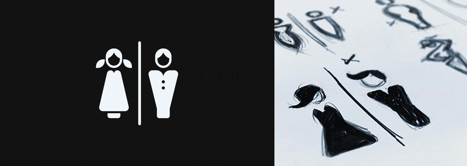 restroom icons in vector format with design studies in sketchbook