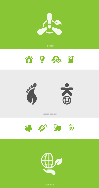 series of green and environmental icon concepts