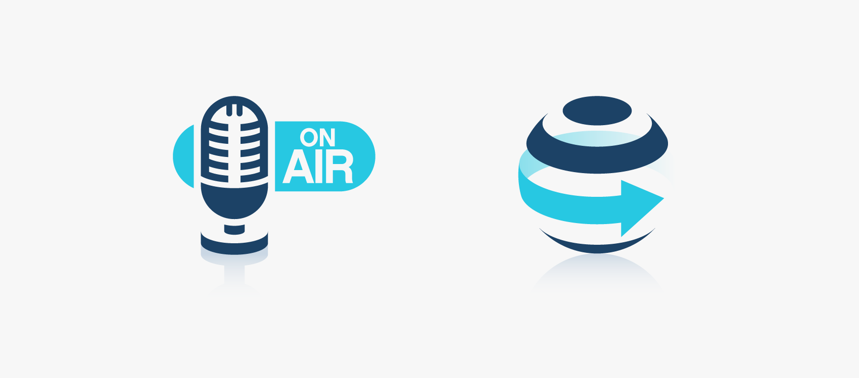 blue 3d icons of globe and microphone with on air type