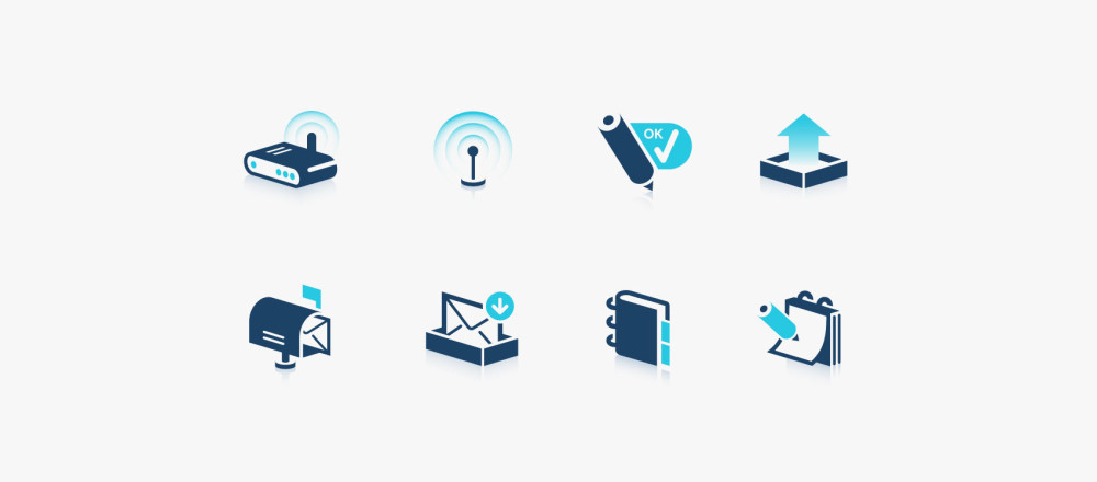 blue icon set with 3d icons in vector format