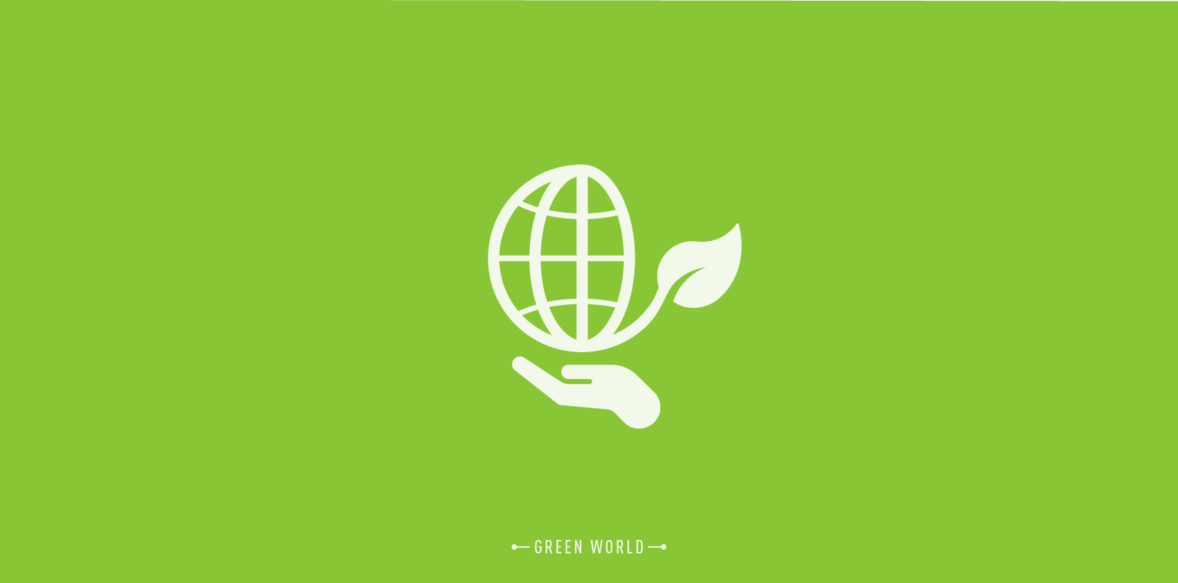 environmental icon design with a hand holding a globe
