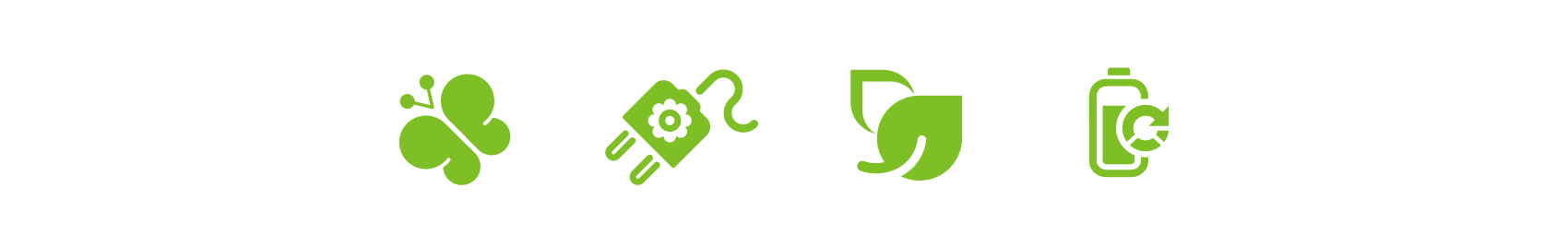 set of environmental icons in green color