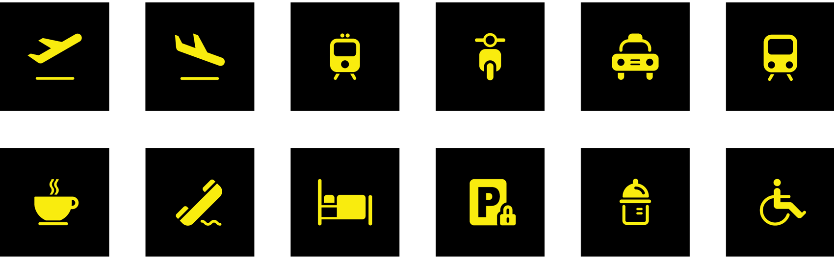 icon set with international airport symbols and pictograms