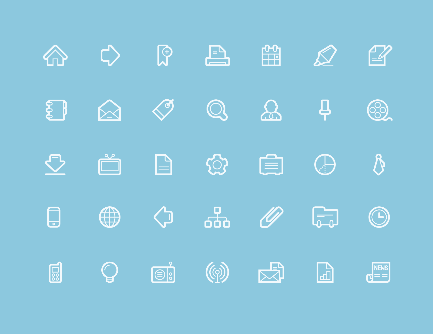 minimal designed icon set in contour style