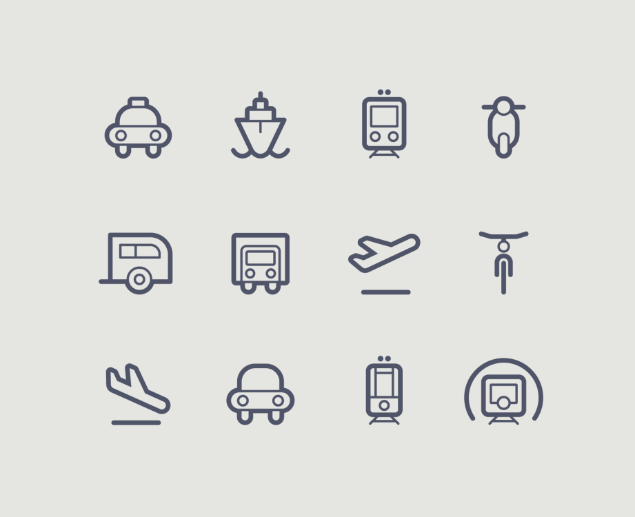 transportation icons contour outline set